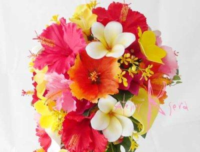 画像3: 造花オーダーメイドブーケ ショートキャスケード・ブトニア(ハイビスカス&プルメリア)