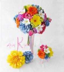 他の写真2: 造花オーダーメイドブーケ クラッチブトニア・ヘッドパーツ(プルメリア&ビビッドミックスカラー)