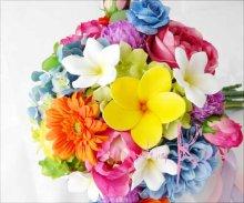 他の写真3: 造花オーダーメイドブーケ クラッチブトニア・ヘッドパーツ(プルメリア&ビビッドミックスカラー)