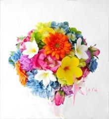 他の写真1: 造花オーダーメイドブーケ クラッチブトニア・ヘッドパーツ(プルメリア&ビビッドミックスカラー)
