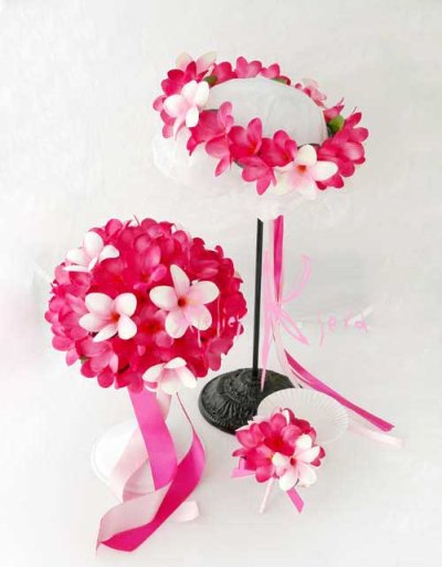 画像1: 造花オーダーメイドブーケ ラウンド25・ブトニア・花冠(ピンク&ピンクプルメリア)