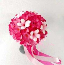 他の写真2: 造花オーダーメイドブーケ ラウンド25・ブトニア・花冠(ピンク&ピンクプルメリア)