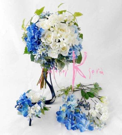 画像1: 造花オーダーメイドブーケ クラッチ23・ブトニア・ヘッドパーツセット(ブルー&ホワイト)