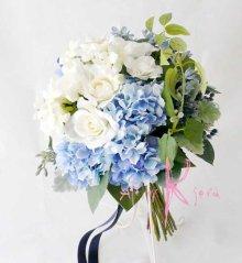 他の写真2: 造花オーダーメイドブーケ クラッチ23・ブトニア・ヘッドパーツセット(ブルー&ホワイト)