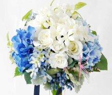 他の写真1: 造花オーダーメイドブーケ クラッチ23・ブトニア・ヘッドパーツセット(ブルー&ホワイト)
