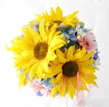 他の写真1: 造花オーダーメイドミニブーケ ミニブーケ16・ブトニア・ヘッドパーツ(ヒマワリ&ガーベラ&デルフィニウム)