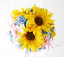 他の写真3: 造花オーダーメイドミニブーケ ミニブーケ16・ブトニア・ヘッドパーツ(ヒマワリ&ガーベラ&デルフィニウム)