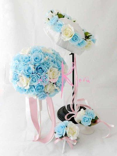 画像1: 造花オーダーメイドブーケ クラッチ・ブトニア・花冠(ライトブルー&ホワイトローズ)