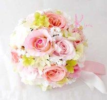 他の写真2: 造花オーダーメイドブーケ ラウンド20・ブトニア・ヘッドパーツセット(ピンク&ホワイトローズ)