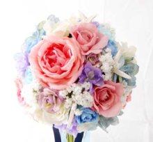 他の写真2: 造花オーダーメイドブーケ クラッチ22・ブトニア・花冠・ヘッドパーツ・リストレット(ペールトーンミックス+スターフィッシュ)