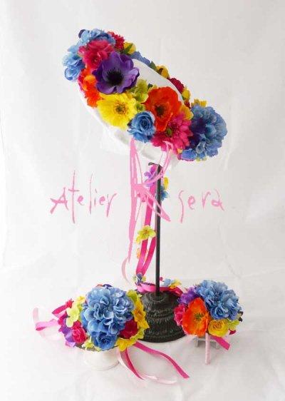 画像2: 造花オーダーメイド花冠 リストレット・ブトニア(ビビッドカラーミックス)