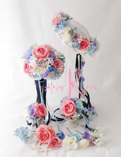 画像2: 造花オーダーメイドブーケ クラッチ22・ブトニア・花冠・ヘッドパーツ・リストレット(ペールトーンミックス+スターフィッシュ)