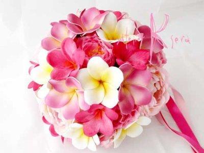 画像2: 造花オーダーメイドブーケ ラウンド20・ブトニア・花冠・リストレット・(イングリッシュローズ&ピンクプルメリア)