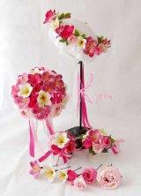 造花オーダーメイドブーケ ラウンド20・ブトニア・花冠・リストレット・(イングリッシュローズ&ピンクプルメリア)