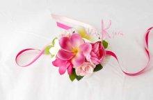 他の写真2: 造花オーダーメイドブーケ ラウンド20・ブトニア・花冠・リストレット・(イングリッシュローズ&ピンクプルメリア)