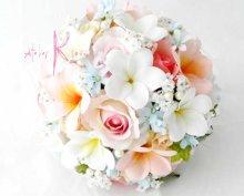 他の写真2: 造花オーダーメイドブーケ ラウンド23・ブトニア・ヘッドパーツ(ピンクローズ&プルメリア&ブルースター)
