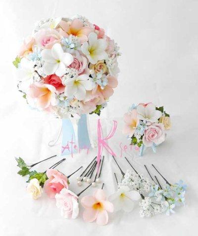 画像1: 造花オーダーメイドブーケ ラウンド23・ブトニア・ヘッドパーツ(ピンクローズ&プルメリア&ブルースター)