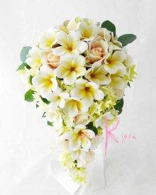 他の写真1: 造花オーダーメイドブーケ セミキャスケード・ブトニア・花冠(プルメリア&ローズ)