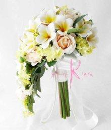 他の写真2: 造花オーダーメイドブーケ セミキャスケード・ブトニア・花冠(プルメリア&ローズ)