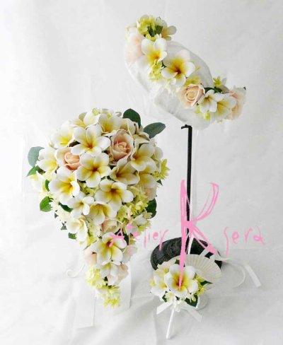 画像1: 造花オーダーメイドブーケ セミキャスケード・ブトニア・花冠(プルメリア&ローズ)