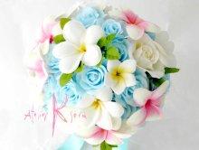 他の写真2: 造花オーダーメイドブーケ ラウンド20・ブトニア・花冠(アイスブルーローズ&プルメリア)