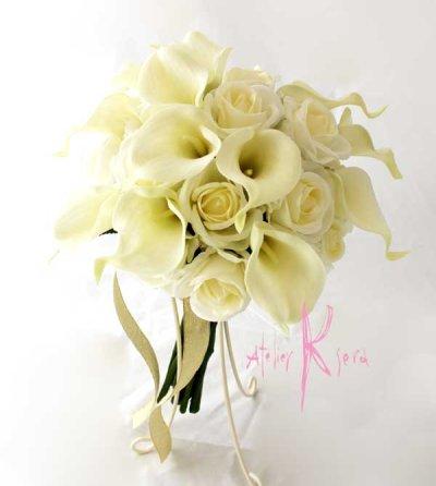 画像2: 造花オーダーメイドブーケ クラッチ25・ブトニア(ホワイトローズ&カラー)