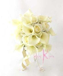 他の写真2: 造花オーダーメイドブーケ クラッチ25・ブトニア(ホワイトローズ&カラー)