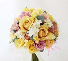 他の写真1: 造花オーダーメイドブーケ クラッチ24・ブトニア・ヘッドパーツ(イエロー&ニュアンスピンクローズ)