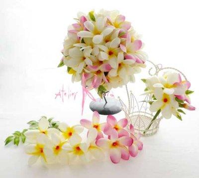 画像2: 造花プルメリア ラウンドブーケ・ブトニア・ヘッドパーツセット