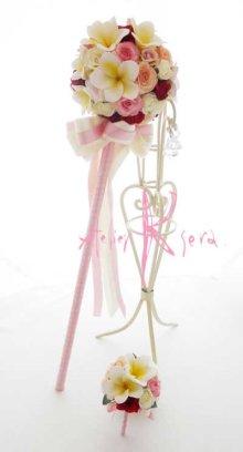 他の写真3: 造花オーダーメイド スティックブーケ&ブトニア(ミニローズ&プルメリア)