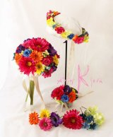造花オーダーメイドブーケ クラッチ22・ブトニア・ヘッドパーツ・花冠(ビビッドカラーミックス)