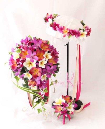 画像1: 造花オーダーメイドブーケ Sキャスケード・ブトニア・花冠(ピンクオーキッド&プルメリア)