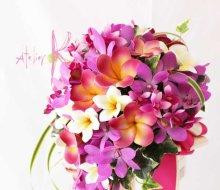 他の写真1: 造花オーダーメイドブーケ Sキャスケード・ブトニア・花冠(ピンクオーキッド&プルメリア)