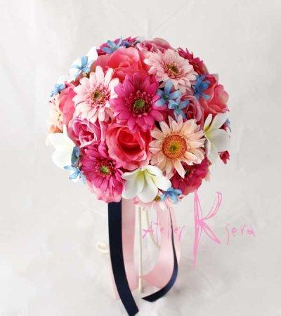 画像2: 造花オーダーメイドブーケ ラウンド20・ブトニア・花冠・ヘッドパーツ(Pガーベラ&ブルースター)