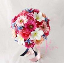 他の写真3: 造花オーダーメイドブーケ ラウンド20・ブトニア・花冠・ヘッドパーツ(Pガーベラ&ブルースター)