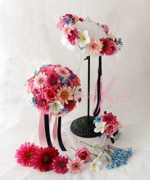 他の写真1: 造花オーダーメイドブーケ ラウンド20・ブトニア・花冠・ヘッドパーツ(Pガーベラ&ブルースター)