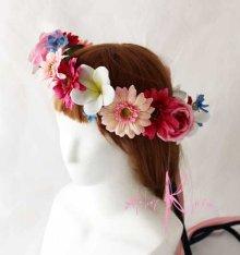 他の写真2: 造花オーダーメイドブーケ ラウンド20・ブトニア・花冠・ヘッドパーツ(Pガーベラ&ブルースター)