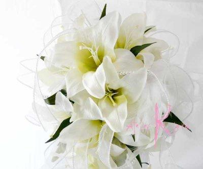 画像3: 造花オーダーメイドブーケ キャスケードブーケ(カサブランカ&パール)
