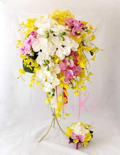 画像1: 造花オーダーメイドブーケ キャスケードブーケ(コチョウラン&シンビジューム)