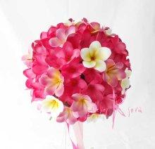 他の写真2: 造花オーダーメイドブーケ クラッチ25・ブトニア・花冠・(ピンク&ホワイトプルメリア)