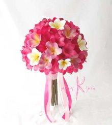 他の写真1: 造花オーダーメイドブーケ クラッチ25・ブトニア・花冠・(ピンク&ホワイトプルメリア)