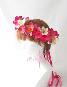 他の写真3: 造花オーダーメイドブーケ クラッチ25・ブトニア・花冠・(ピンク&ホワイトプルメリア)