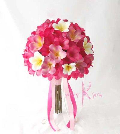 画像2: 造花オーダーメイドブーケ クラッチ25・ブトニア・花冠・(ピンク&ホワイトプルメリア)