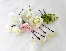 他の写真3: 造花ホワイトローズキャスケードブーケ・ブトニア・ヘッドパーツセット