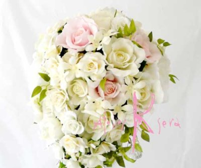 画像3: 造花ホワイトローズキャスケードブーケ・ブトニア・ヘッドパーツセット