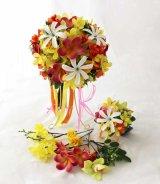 造花オーダーメイドブーケ クラッチ23・ブトニア・ヘッドピース(ティアレ&プルメリア&オーキッド)