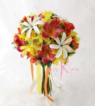 画像2: 造花オーダーメイドブーケ クラッチ23・ブトニア・ヘッドピース(ティアレ&プルメリア&オーキッド)