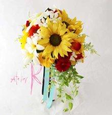 他の写真2: 造花オーダーメイドブーケ クラッチ・ブトニア・花冠(ヒマワリ&ガーベラ&プルメリア)