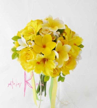 画像2: 造花オーダーメイドブーケ クラッチ・ブトニア・花冠(イエローローズ&プルメリア)