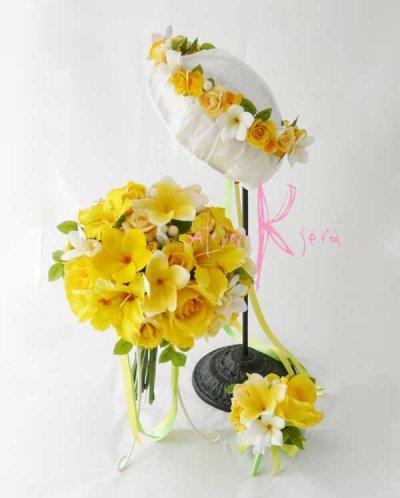 画像1: 造花オーダーメイドブーケ クラッチ・ブトニア・花冠(イエローローズ&プルメリア)